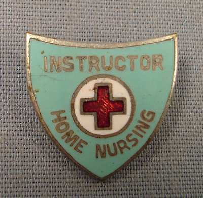 Red Cross Pin.  Instructor Home Nursing. Enamel Inlaid.