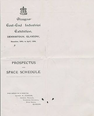 Glasgow Industrial Exhibition 1903 leaflet brochure