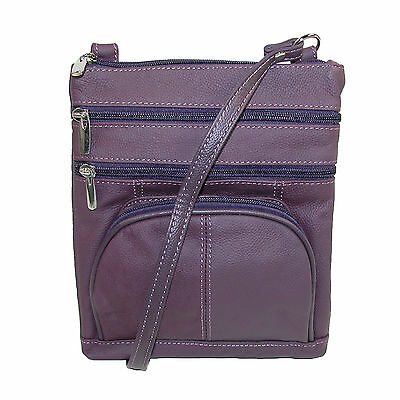 New CTM Women's Multi Pocket Leather Crossbody