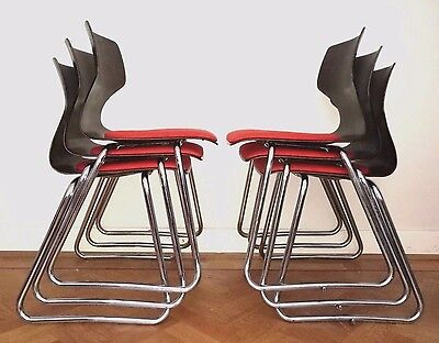 Vintage retro Flototto Pagwood stacking chairs x 6  industrial Bauhaus 1960's