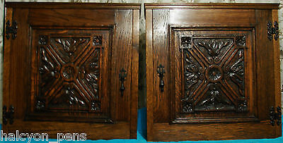 Pair of hanging wall mounted solid oak cabinets