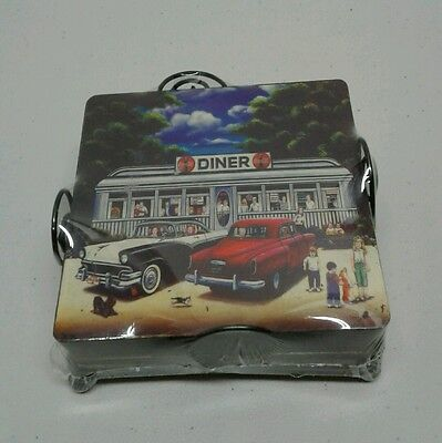 """Coca-Cola Coasters """"Back to the 50's"""" Wood Cork Backed Set/4 with Holder $7.99"""