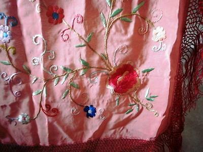 Lovely Coral Vintage  Piano Shawl   Embroidered With Floral Decoration