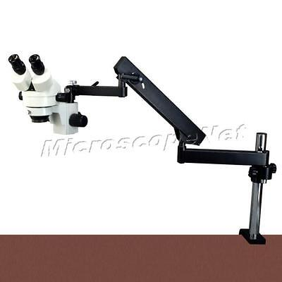 7X-45X Zoom Stereo Microscope+Articulating Arm Stand+Bright 144 LED Ring Light