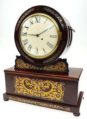 Antique Rosewood Fusee Mantel Clock C1840 Drum Head Regency Inlaid Bracket Clock