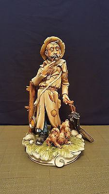SALE - 1998 Large CAPODIMONTE Figurine HOBO with DOG - SIGNED Gianni  11.5""