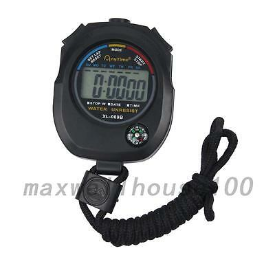 New Waterproof Digital LCD Stopwatch Sports Counter Chronograph Timer Watch