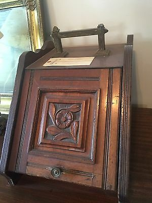 Antique Victorian Hand Carved Tinder Kindling Wood Box