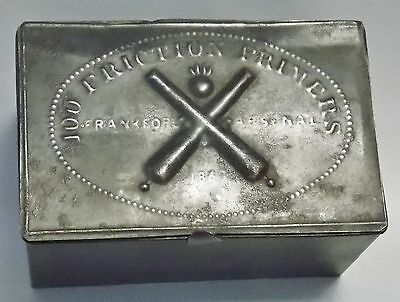 Antique Authentic Civil War Frankford Arsenal Friction Cannon Primer Tin