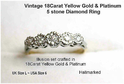 Vintage 5 stone Diamond 18Carat Yellow Gold & Platinum Ladies Ring UK L