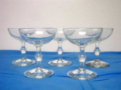5 Vintage Clear Imperial Campagne Barware Glasses