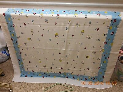 Vintage Tablecloth - Blue With Flower Pots  59 X 52