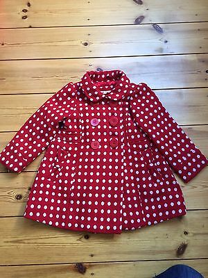 Immaculate John Lewis Red Spotty Girls Warm Coat 18-24 months
