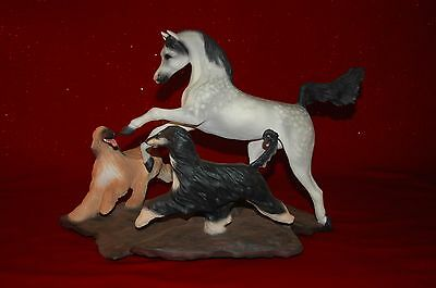 Afghan Hound & Arabian Horse Statue Sandi Rolfe 2000 Signed Limited Edition MINT