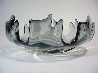 Vintage Retro Italian Murano Art Glass Bowl Smokey Grey Mid Century Eames