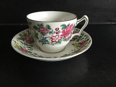 "Crown Staffordshire ""Thousand Flowers"" Large Breakfast Cup and Saucer"