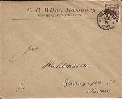 GERMANY EMPIRE - 1891 -  Circulated Cover from Hamburg