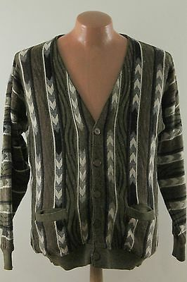 Vtg Christian Dumas Multicolor Abstract Tribal Cardigan Sweater - Men's Medium M
