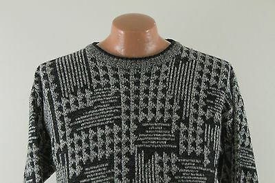 Vintage Method 80s Ugly Sweater - Acrylic Black Gray - Men's Medium M