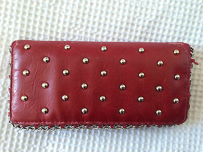 Red Vegan Friendly Leather Look Purse Wallet