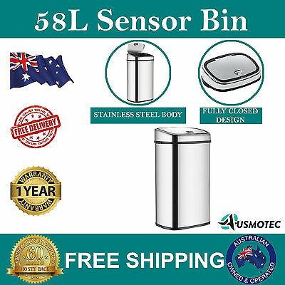 New 58L Stainless Steel Bin Automatic Motion Sensor Rubbish Waste  Trash Kitchen