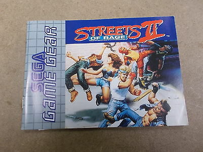 Sega Game Gear Pal Instruction Manual Only STREETS OF RAGE II