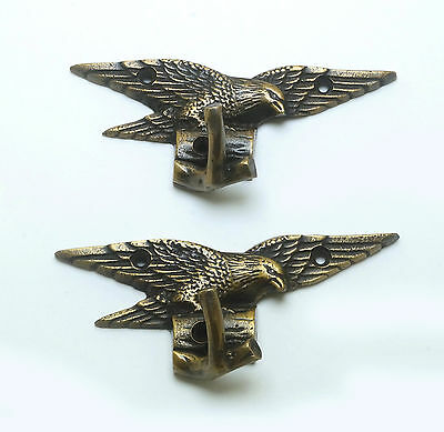"1.96"" 2 pcs Vintage Freedom EAGLE Falcon Solid Brass Strong Wall Mount HOOK"