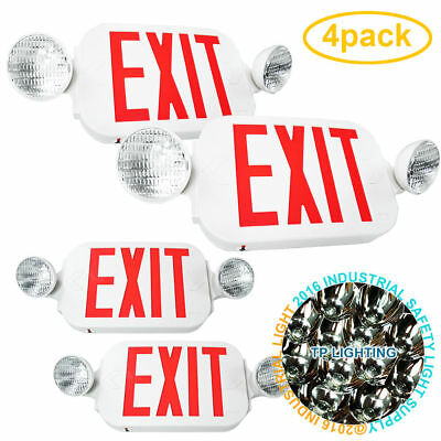 4pack LED Exit Sign & Emergency Light – High Output - RED Compact Combo UL New