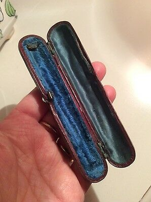 old Victorian antique leather cheroot pipe tobacco case/jewellery box