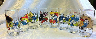 1982 Peyo Smurfs Complete Set of 8 Character Glasses