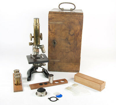 Antique 1913 E.Leitz-Wetzlar German Microscope With Oak Case #161064