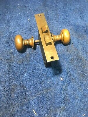 Antique Norwalk  Door Mortise Lock With Brass  Door Knobs & Backplates