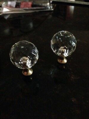Vintage Drawer Pulls 2 crystal ball