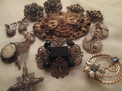 Victorian Antique Jewelry Brooch Earring Lot Rhinestone Cameo Opal Gold Filled