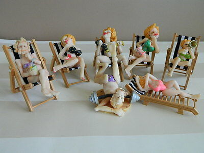 Beach Bums Babes Ceramic Dolls Figures on mini Wooden Deck Chairs x 7