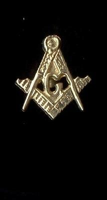 10K Solid Yellow Gold Freemason Tie Clip Lapel Pin Masonic Compass Screw Back xg
