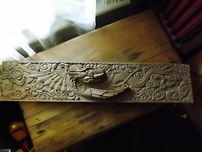 Vintage Hand Carved Dragon Timber Relief 84 cm long
