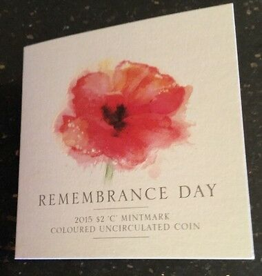 2015 $2 Coin UNC - remembrance day on card
