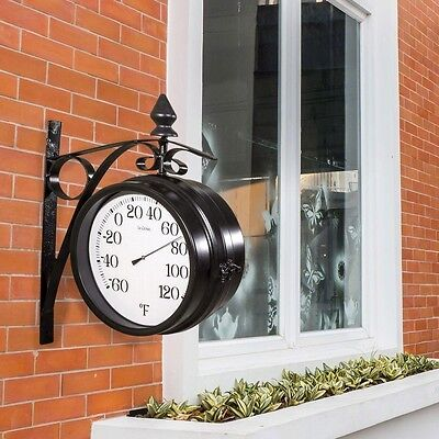 Outdoor Station Wall Clock Mounted Thermometer Decorative Display
