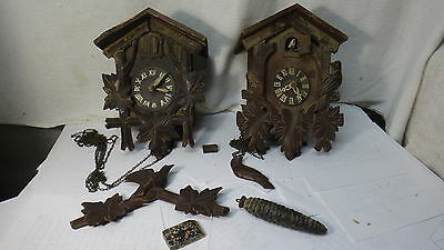 Vintage Pair Of Antique Black Forest Germany Coo Coo Clocks Parts Or Repair L@@k