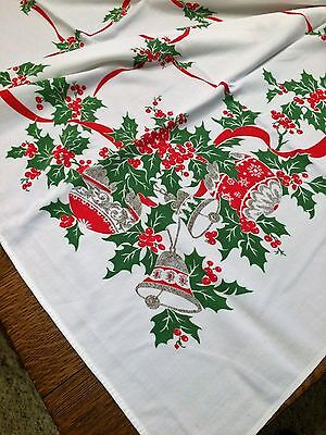 "Vintage Christmas  Tablecloth  Shiny Brite Bulbs Bells Holly & Berrys  52""x58"""