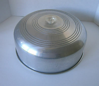 Vintage Aluminum Cake Cover With Clear Knob-Great Collectible