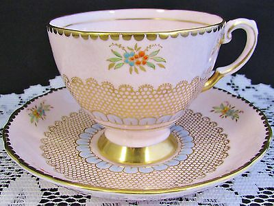 Tuscan Gold Gilt Lace Beaded Floral Pink Tea Cup And Saucer