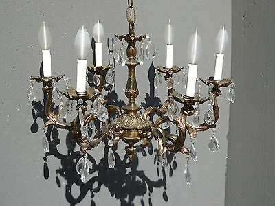 Vintage French Provincial Brass & Crystal Six Arm CHANDELIER Light