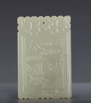 Amazing Hand Carving Chinese Natural White Jade Nephrite Pendant 246GD