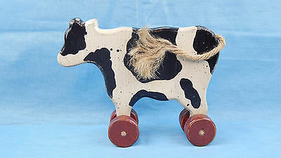 Primitive Decor New Wooden Cow Toy On Wheels With Rope Tail
