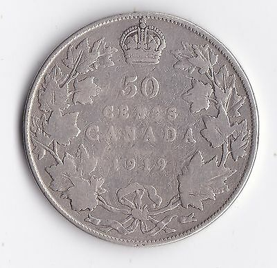 1919 Canada 92.5% Silver Half Dollar 50 Cent Coin King George V