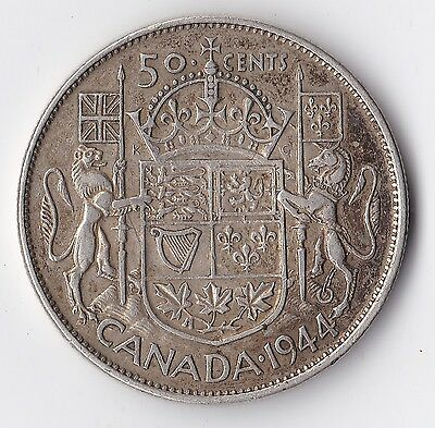 1944 Canada 80% Silver Half Dollar 50 Cent Coin King George VI