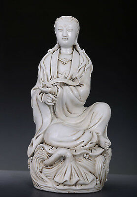 Rare Old Chinese Blanc De Chine Porcelain Buddha Statue HeChaoZong Mark 254GD