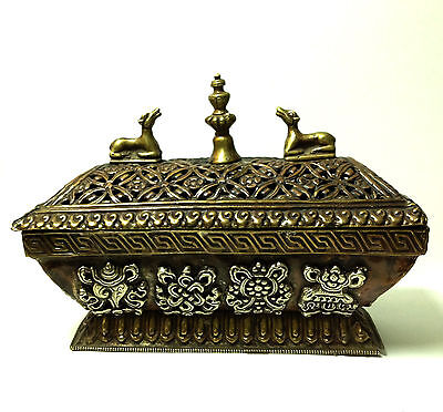 Antique Tibetan Art Box + Lid Metal Symbol Medalion Traditional RARE Collectable